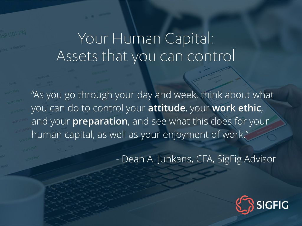 As you go through your day and week, think about what you can do to control your attitude, your work ethic, and your preparation, and see what this does for your human capital, as well as your enjoyment of work. - Dean A. Junkans, CFA, SigFig Advisor