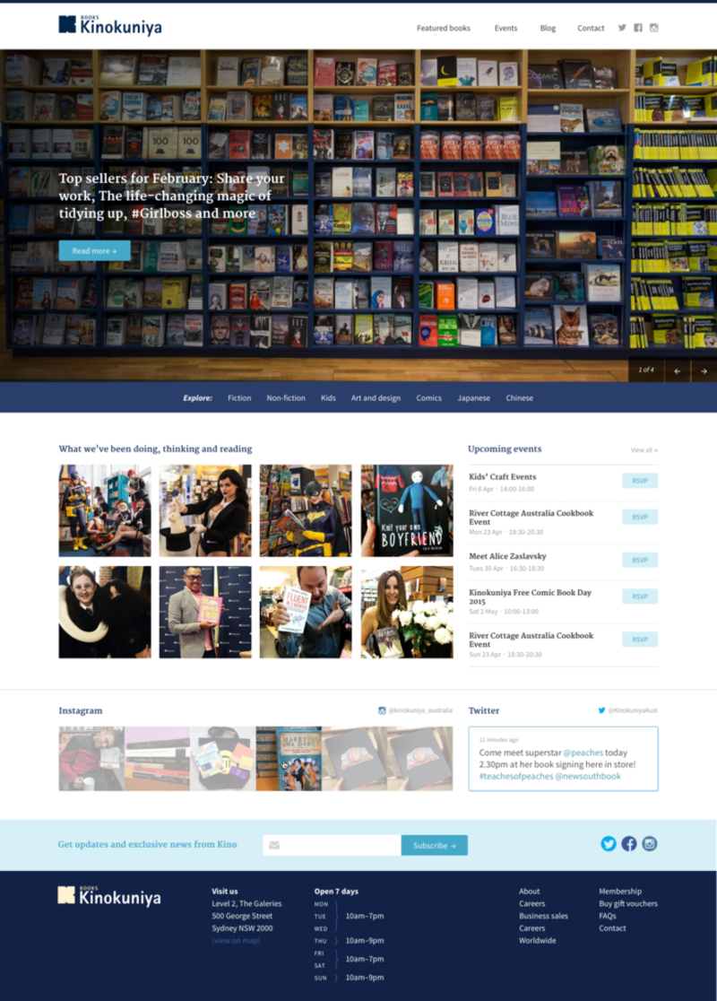 Kinokiniya website opening hours - desktop design