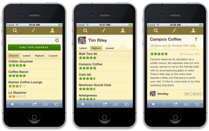 New Decaf Sucks mobile interface screenshots