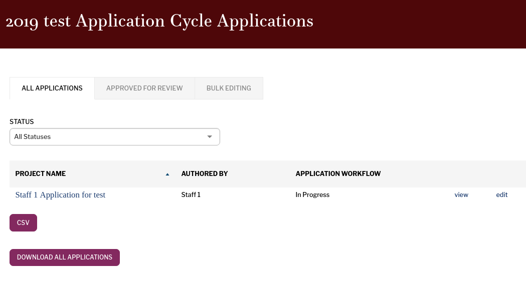All Applications page