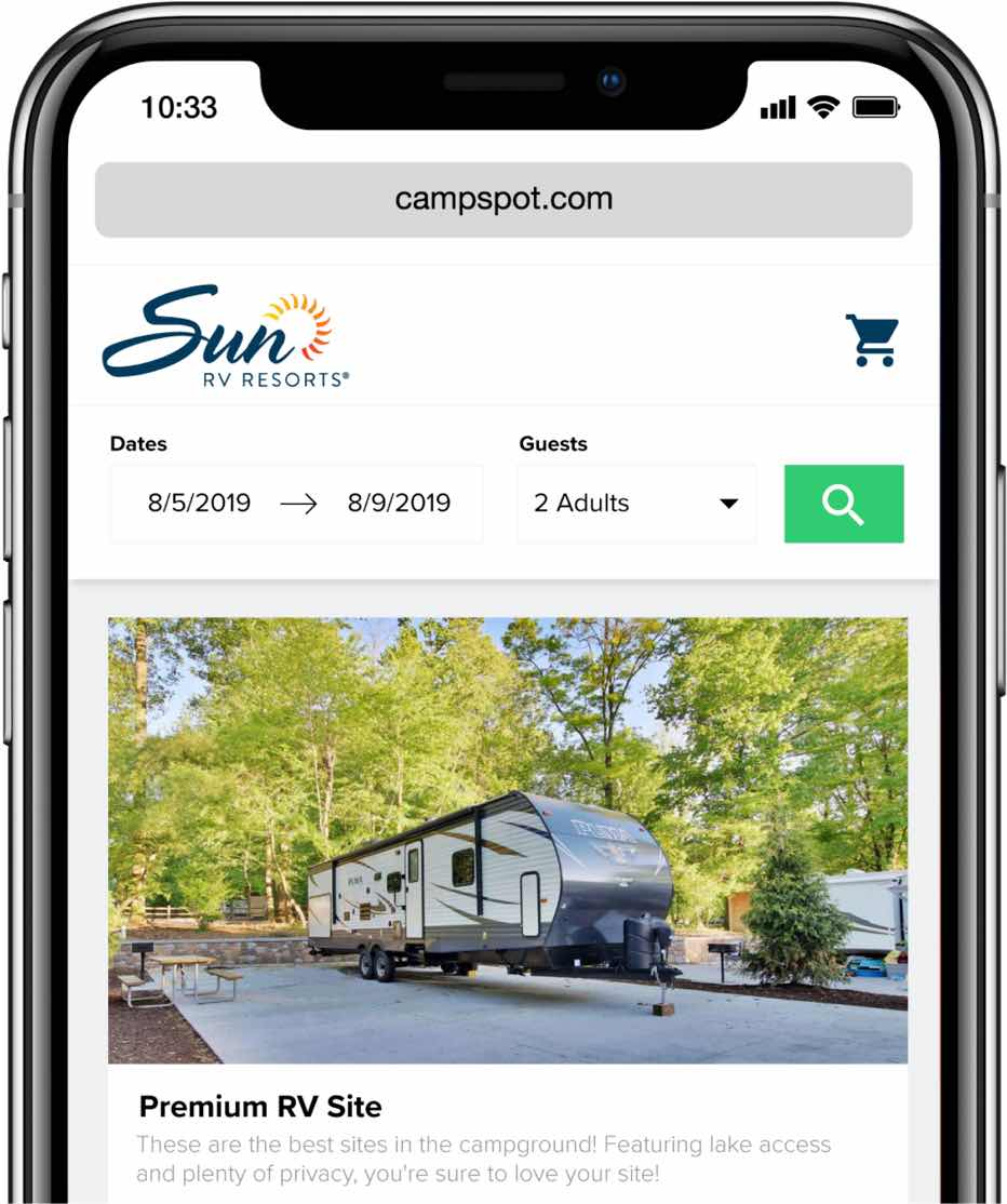 Campspot mobile booking website