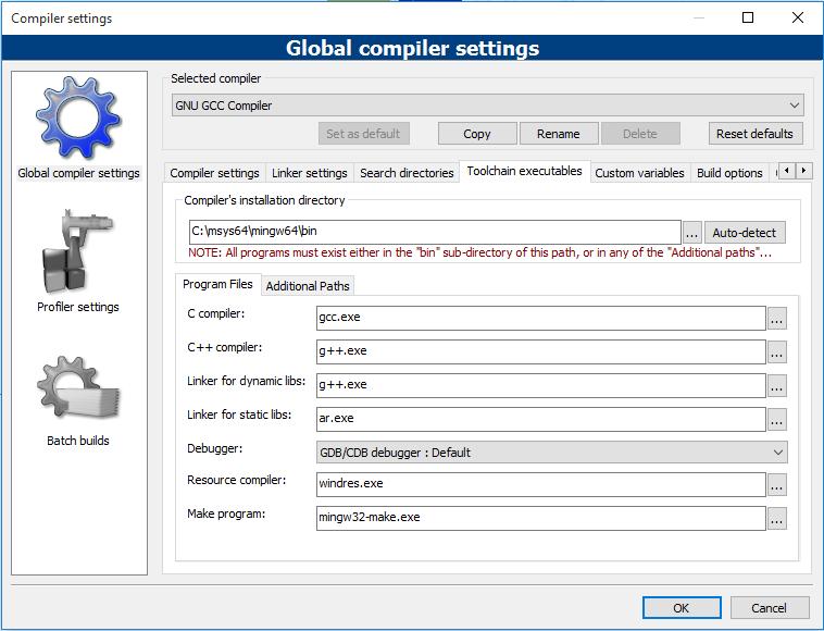 Code::Blocks 設定編譯器路徑