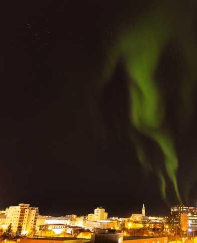 Reykjavík - most spotted Northern Lights locations