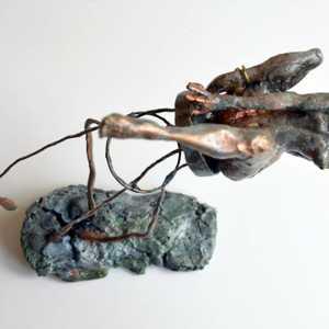 unique fine arts contemporary bronze copper sculpture trust stool women feet ashikoki