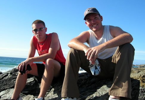 Ben and Rich on Fristral beach, Newquay