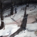 "Eda Lõhmus, Estonia. ""Surnuaed"" 2009. Canvas, acrylic, 50x70cm"