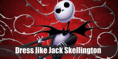 Jack Skellington looks like a skeleton. He wears a white-white striped black suit, a nice, over-the-top batwing bow tie, and black Oxfords.