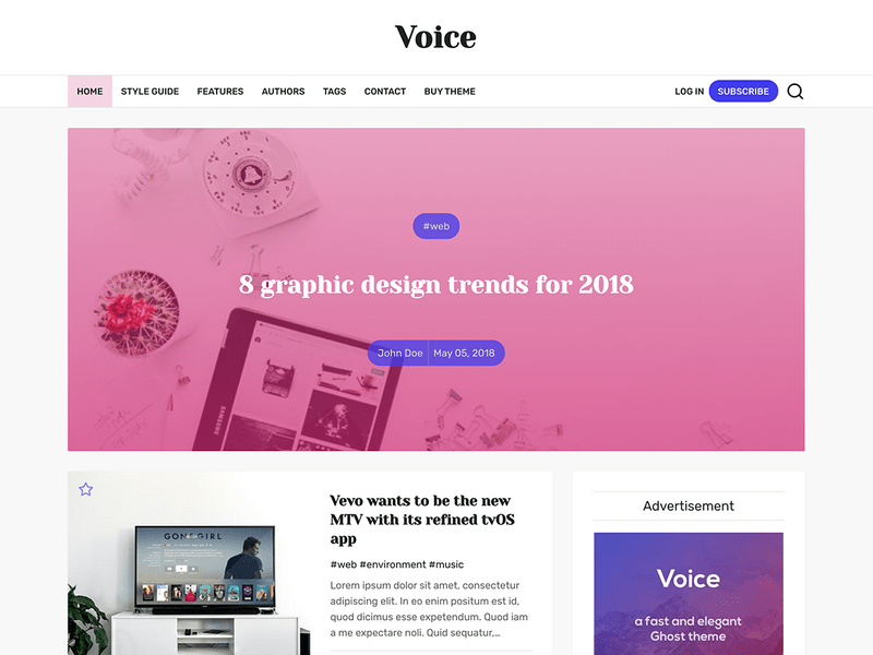 Voice - a News & Magazine Ghost Theme
