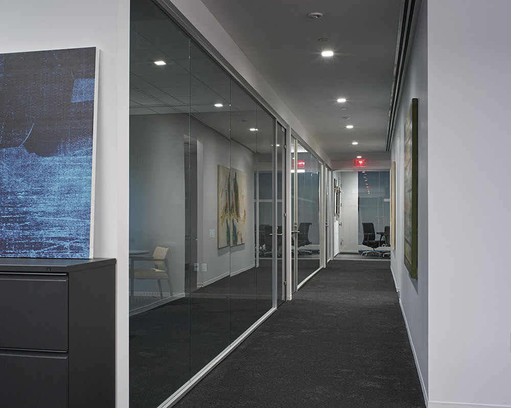 Office Hallway With Reflective Glass Walls