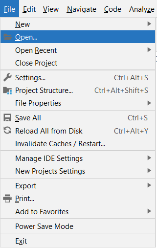 Screenshot of Open option on the IntelliJ File menu