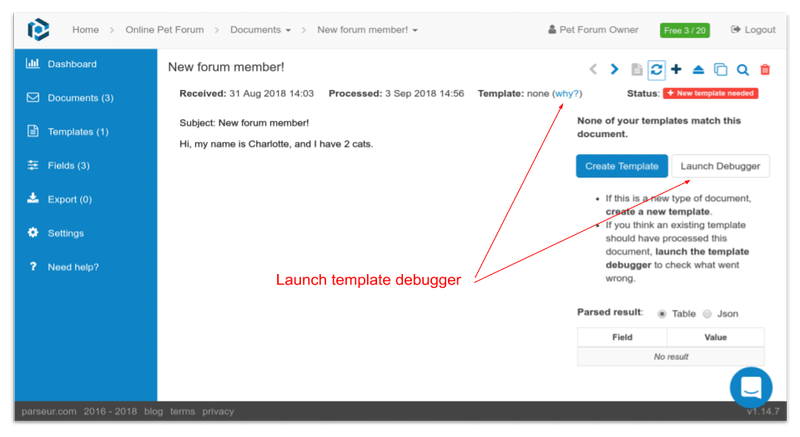 The template debugger will inform us about what happened