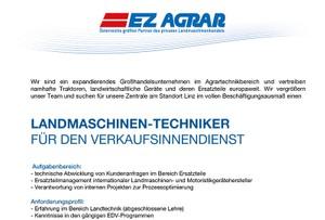 Landmaschinen-Techniker für den Verkaufsinnendienst