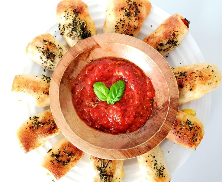 Margherita Bites on Plate with Tomato Dipping Sauce