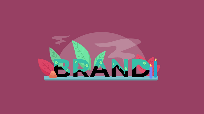 Illustration of the word Brand being pampered
