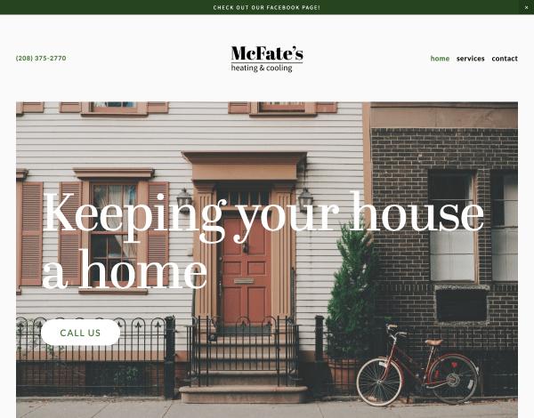 McFate's Heating & Cooling Website Screenshot