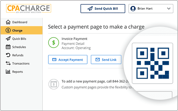 CPACharge software integration mockup, showing a tax preparation payment screen