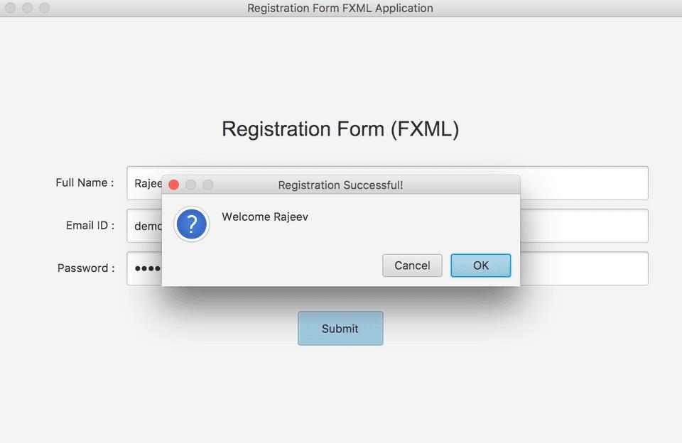 JavaFX FXML registration form GUI confirmation example