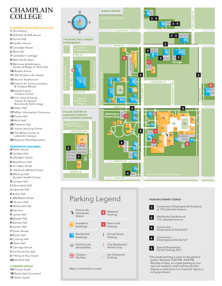 Champlain College Campus Map