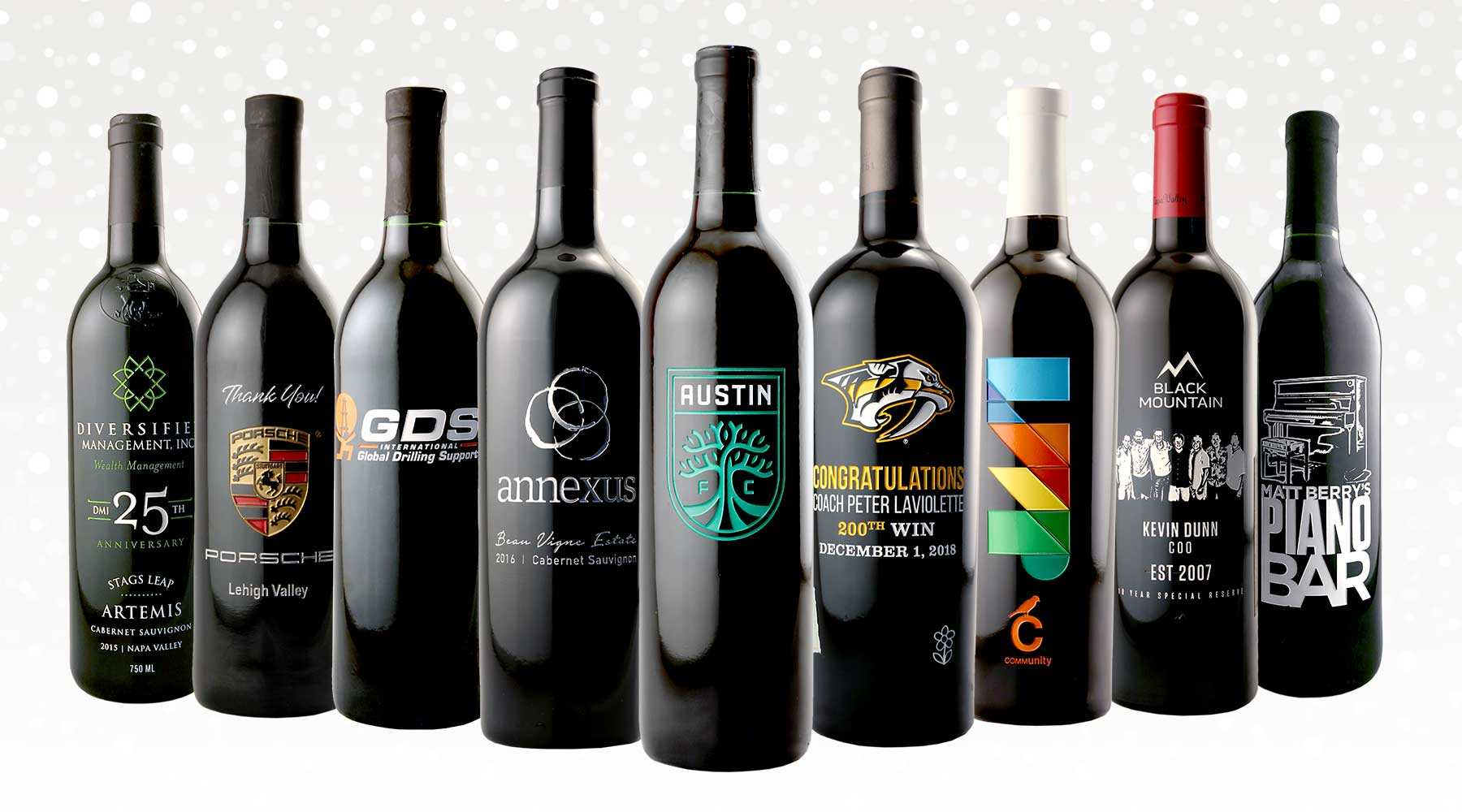 corporate tombstone wine gifts by Etching Expressions