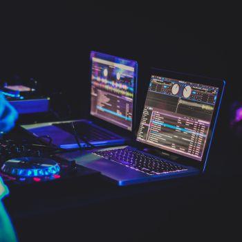 Laptops playing music