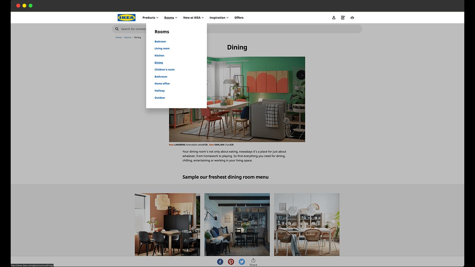 IKEA online store navigation
