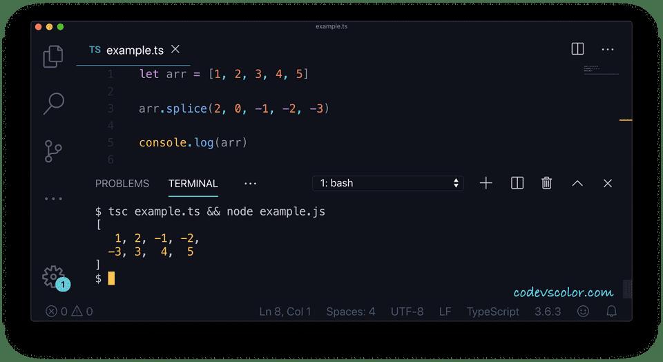 TypeScript array add elements splice