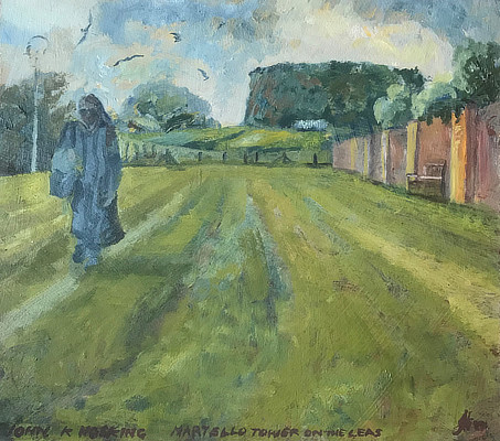 painting of view along the Leas to the Martello Tower at its far west end
