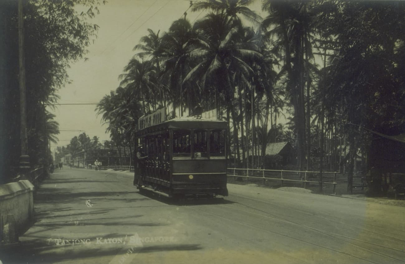 Tram car in Tanjong Katong, 1910s