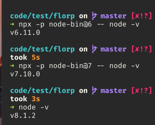 Using a version of nodejs that is different from NPX