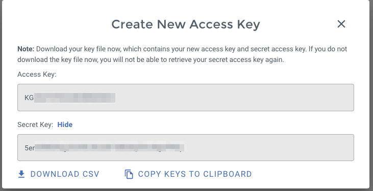 Wasabi Access Key creation confirmation, with Access Key and Secret Key