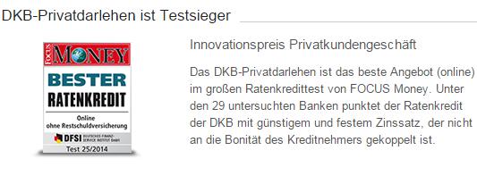"""Bildschirmfoto: Die DKB wurde durch """"Focus Money"""" bewertet"""