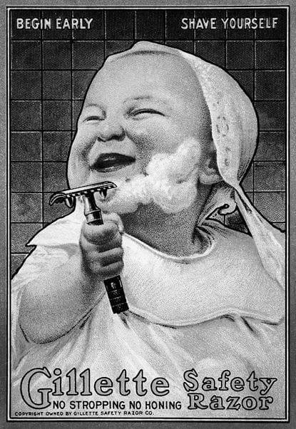 Бритье безопасной бритвой: настолько просто и безопасно, что с ним справится даже младенец. Реклама Gillette, ок. 1910. Источник: Сьюзан Дж. Винсент, «Волосы: иллюстрированная история»