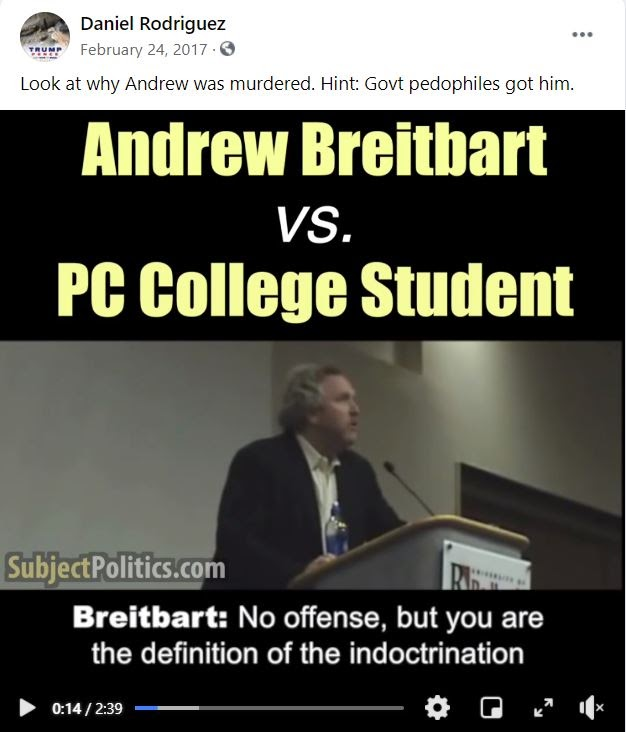 Rodriguez sharing a video about Andrew Breitbart