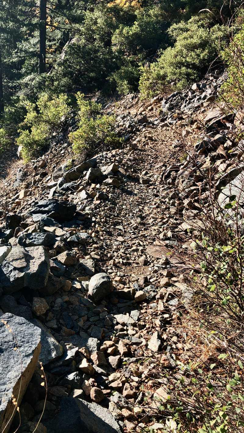 Descending a rocky trail