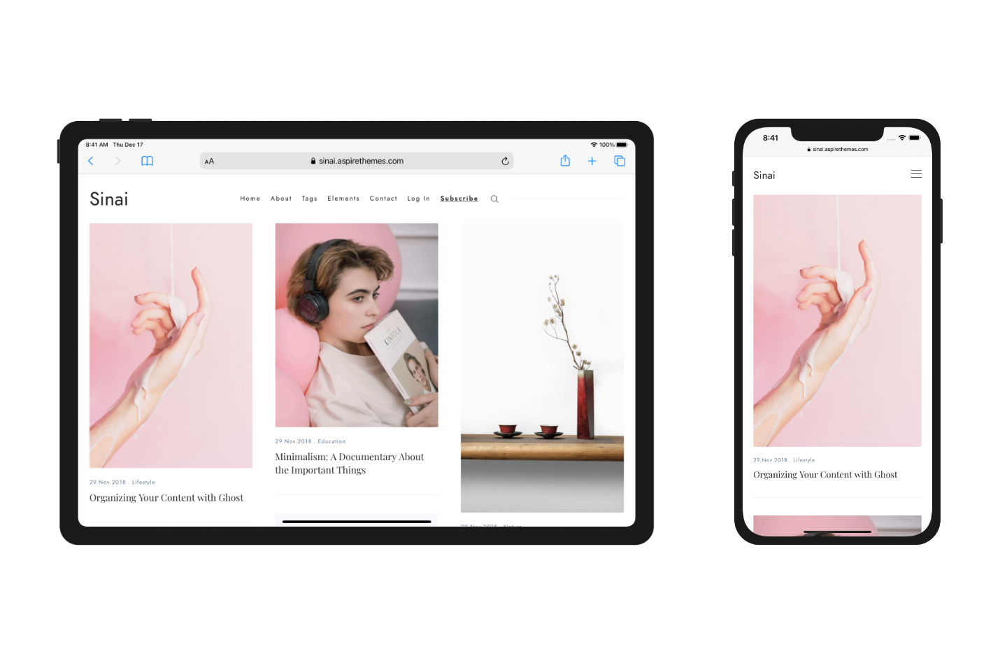 Sinai Theme Responsive Layout on iPhone and iPad