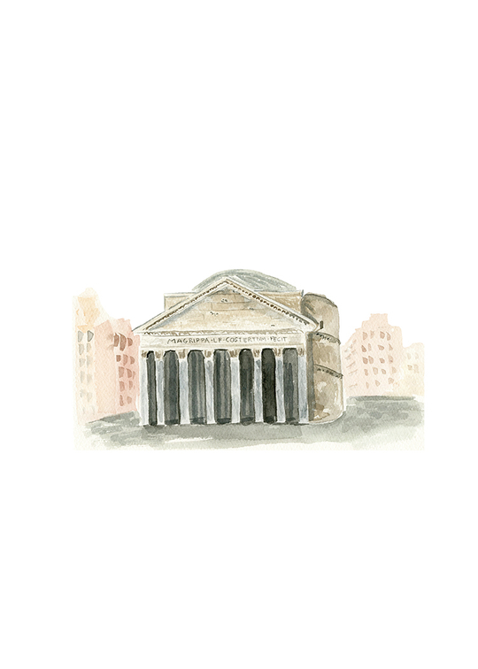 Pantheon Rome, Watercolor illustration by One and Only Paper