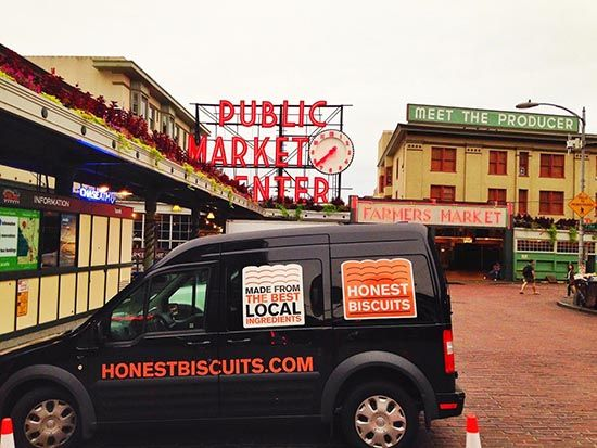 Pike Place Market with Honest Biscuits Van