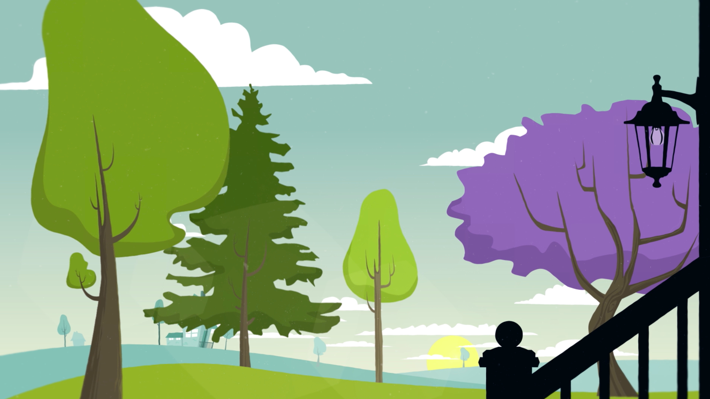 Illustration taken from a scene from the motion design video about apple trees diseases.