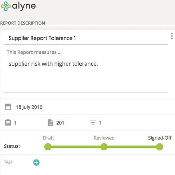 Report Status and Sign-off (supplier report tolerance)