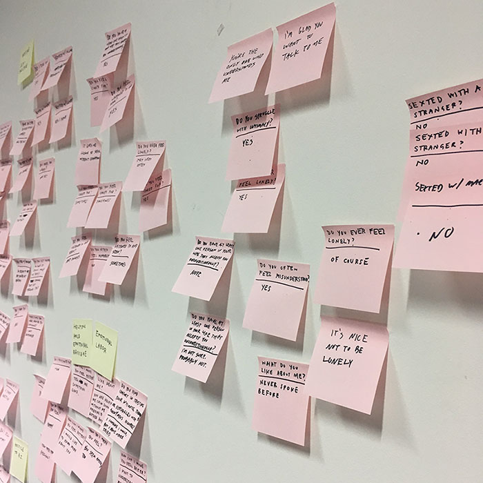 pink sticky notes scattered on white wall