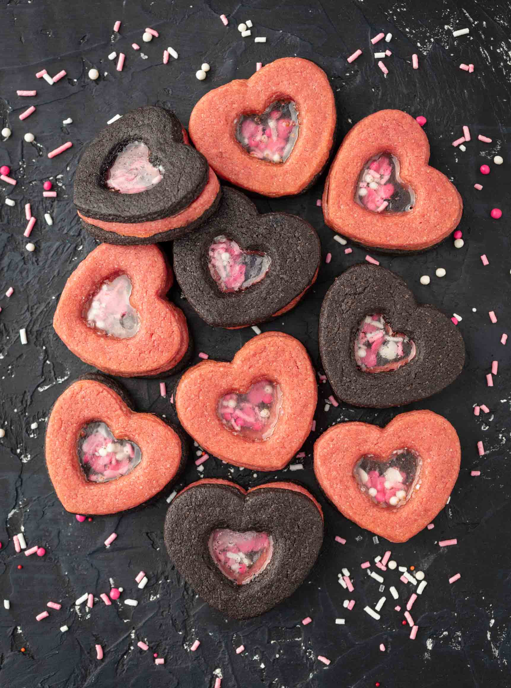 3D stained glass window valentine cookies