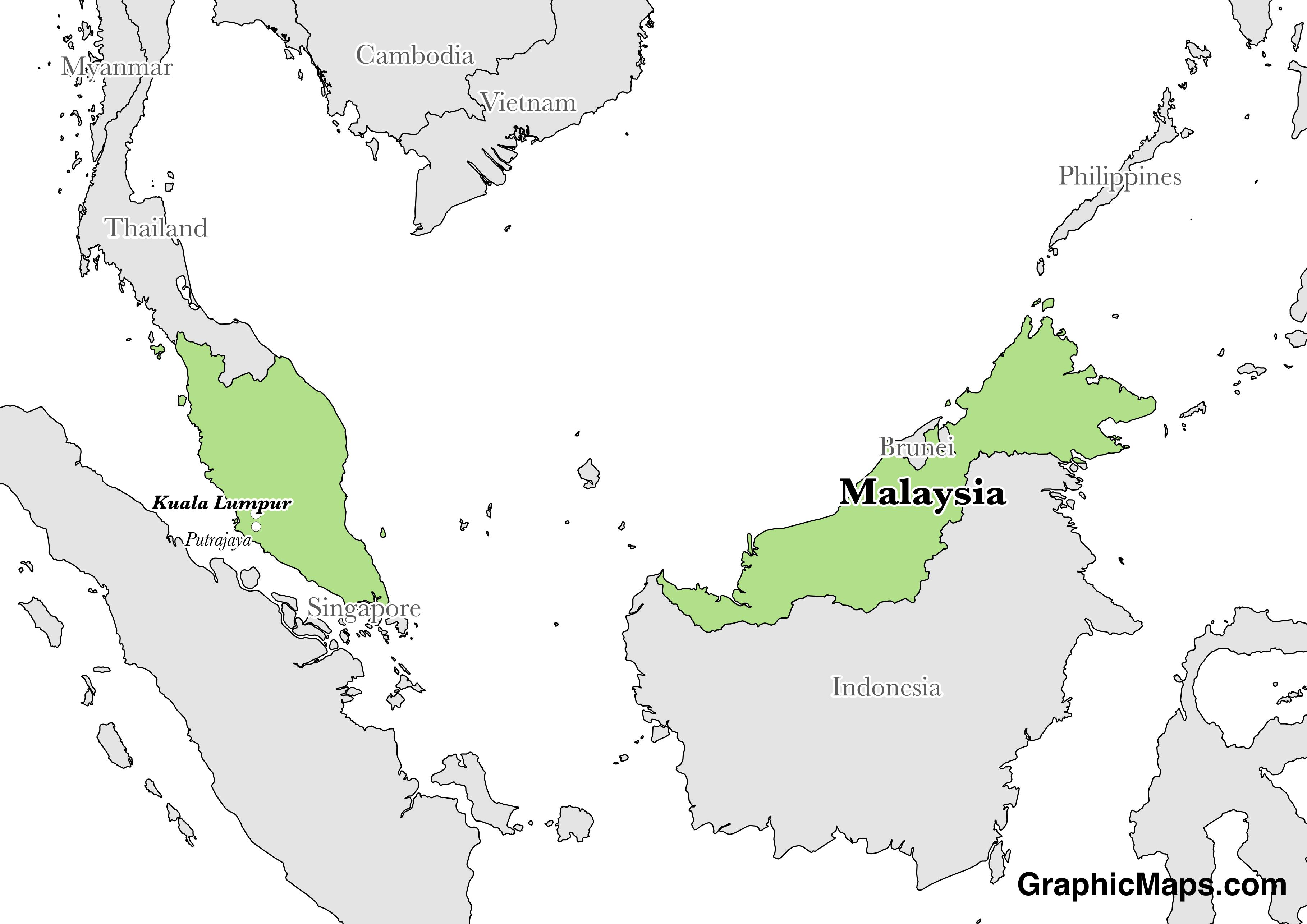 Map showing the location of Malaysia