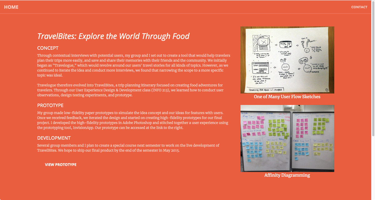 """An extract of Anubhav Gupta's """"Travel Bites"""" case study as featured in their portfolio"""