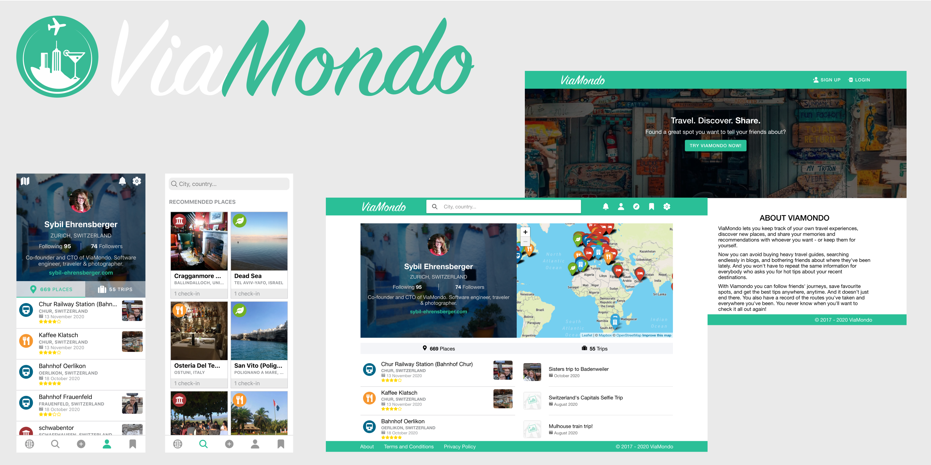 ViaMondo Banner with various screenshots of the ViaMondo Web and Mobile App