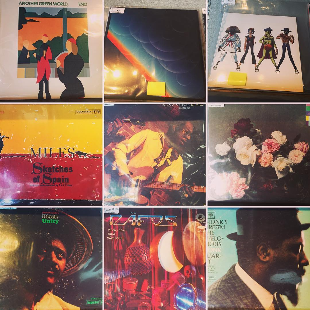 Collage of records. Miles Davis, Brian Eno, Curtis Mayfield, and more.
