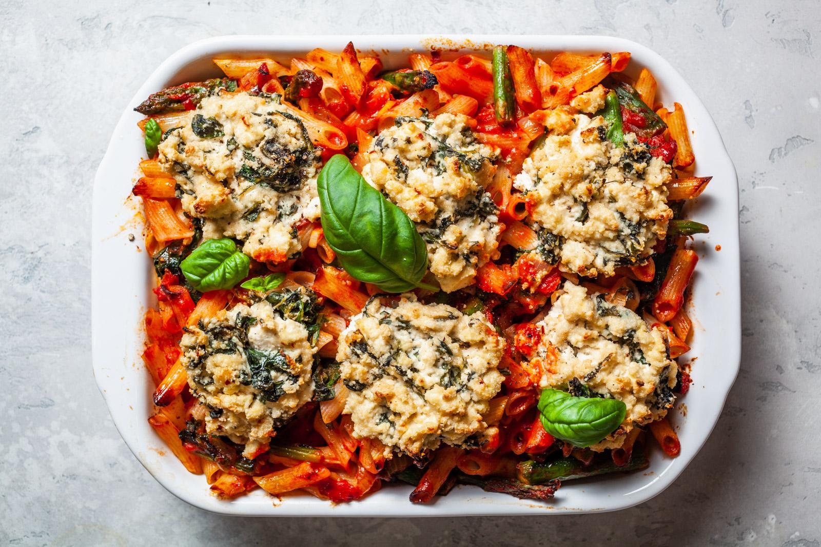 Vegan Spring Pasta Bake