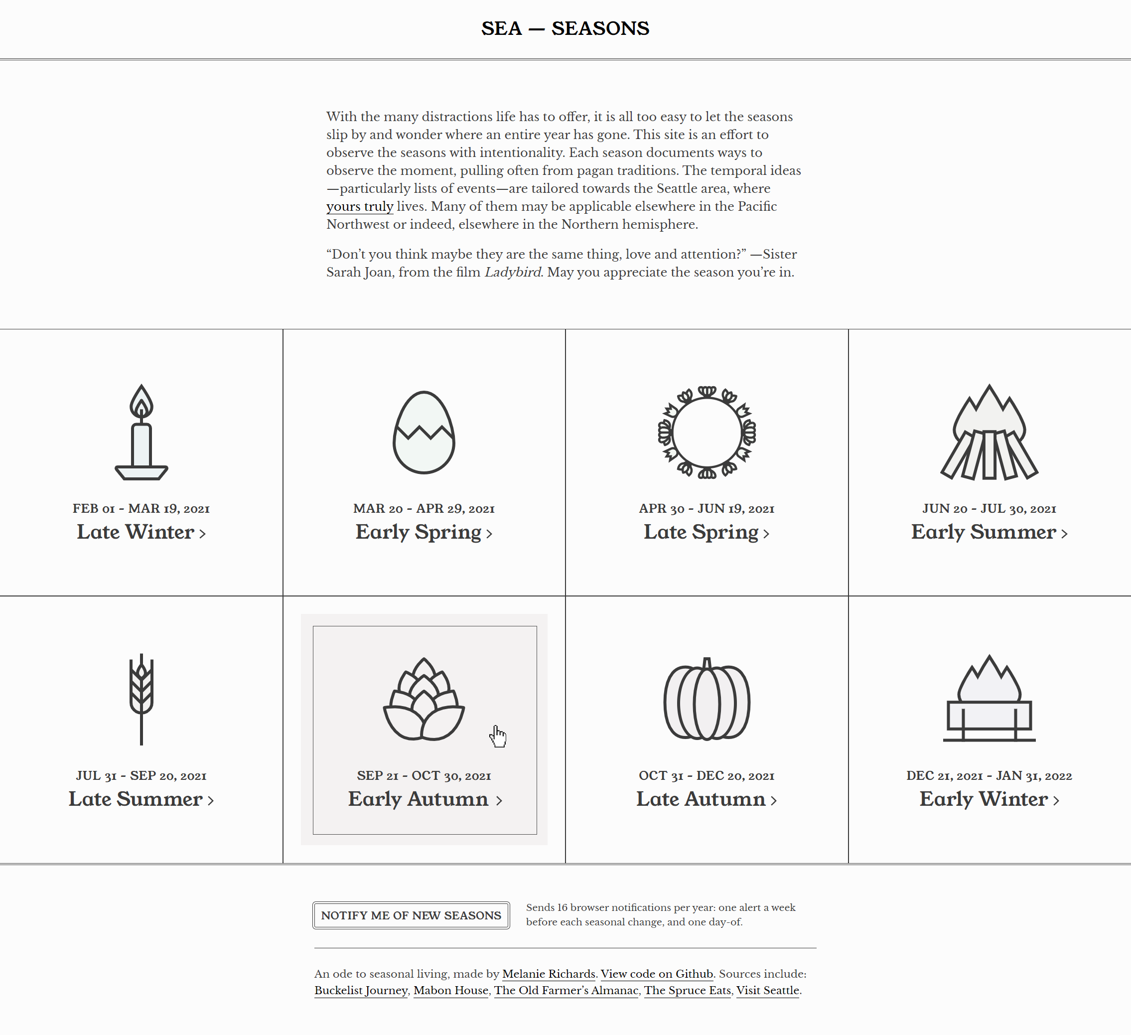 A home page where there are tiles for eight segments of the year: early and late winter, spring, summer, and autumn.