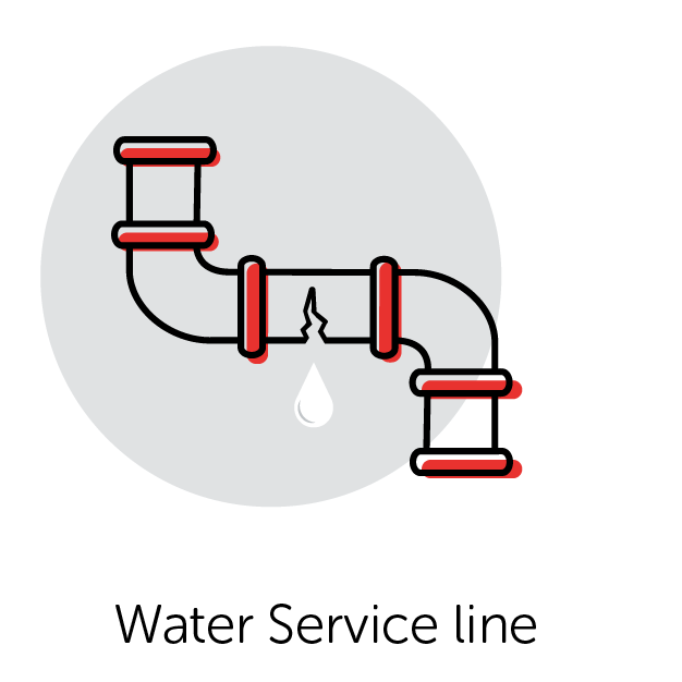 Graphical Icon of a Water Service Line