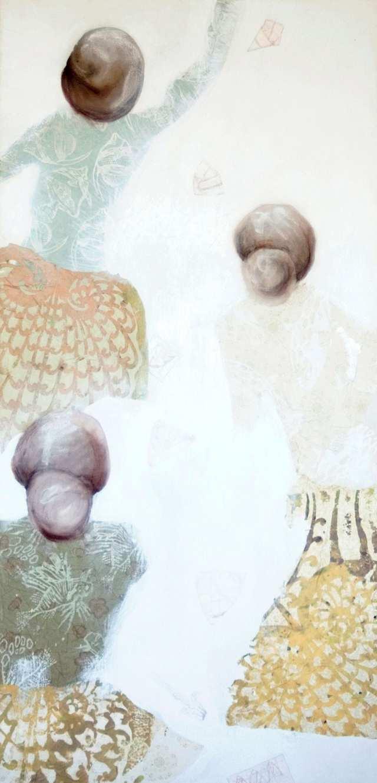 Pekelem to Nirvana, acrylic charcoal woodblock monoprint collage on canvas
