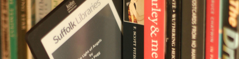 A Suffolk Writes eBook on an eReader